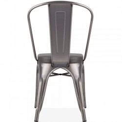Tolix Style Side Chair -Gunmetal/ Grey Seat  Rear View