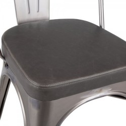 Tolix Style Side Chair -Gunmetal/ Grey Seat Detail
