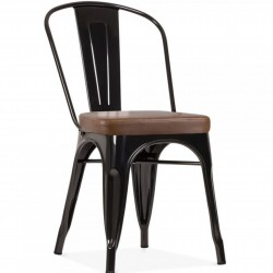 Tolix Style Side Chair -Black/ Brown Seat