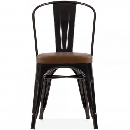 Tolix Style Side Chair -Black/ Brown Seat Front View