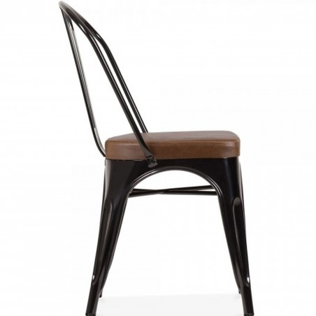 Tolix Style Side Chair -Black/ Brown Seat Side View