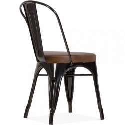 Tolix Style Side Chair -Black/ Brown Seat Angled Rear View