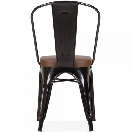 Tolix Style Side Chair -Black/ Brown Seat  Rear View