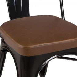 Tolix Style Side Chair -Black/ Brown Seat Detail