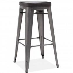 Tolix Style Metal Bar Stool Gunmetal /Grey Seat