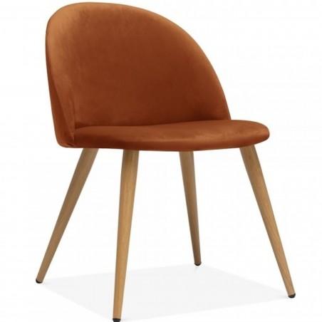 Hilo Velvet Dining Chair - Orange/Natural Legs