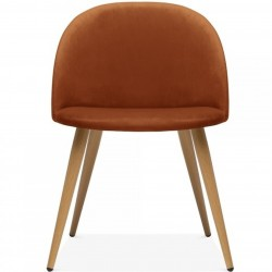 Hilo Velvet Dining Chair - Orange //Natural Legs Front View