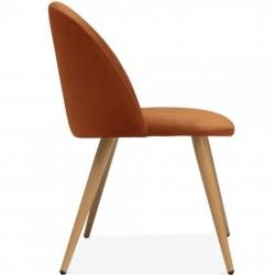 Hilo Velvet Dining Chair - Orange/ Natural Legs Side View