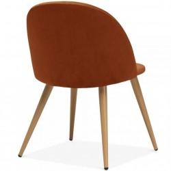 Hilo Velvet Dining Chair - Orange /Natural Legs Angled Rear View