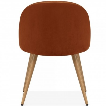 Hilo Velvet Dining Chair - Orange  /Natural Legs Rear View