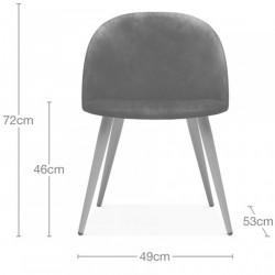 Hilo Velvet Upholstered Dining Chair - Dimensions