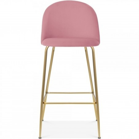 Mid Century Style  Bar Stool - 75cm Blossom Pink/ Brass Legs Front View