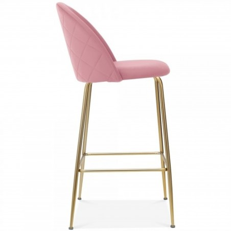 Mid Century Style  Bar Stool - 75cm Blossom Pink/ Brass Legs Side View