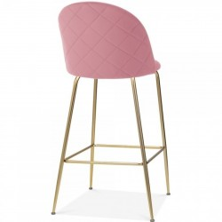 Mid Century Style  Bar Stool - 75cm Blossom Pink/ Brass Legs Rear Angled View
