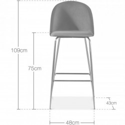 Mid Century Style  Bar Stool -  75cm Seat Height  Dimensions