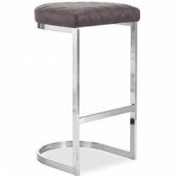 Calne Metal Bar Stool 75cm Grey/ Chrome Legs