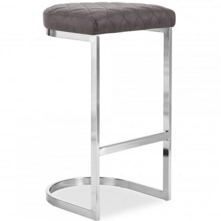 Calne Metal Bar Stool 75cm Grey/ Chrome Legs