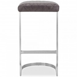 Calne Metal Bar Stool 75cm Grey/ Chrome Legs Front View