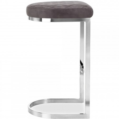 Calne Metal Bar Stool 75cm Grey/ Chrome Legs Side View