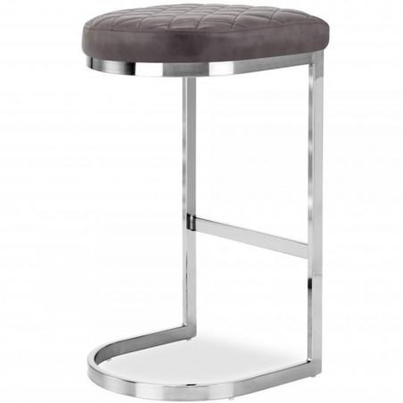 Calne Metal Bar Stool 75cm Grey/ Chrome Legs Angled Rear View