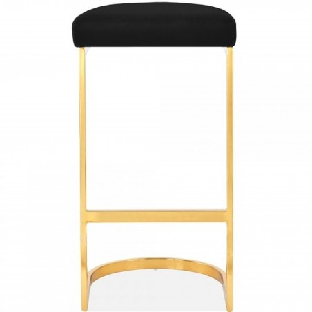Calne Metal Barstool - Black Brass Legs Front View