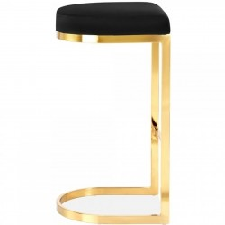 Calne Metal Barstool - Black Brass Legs Side View