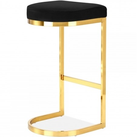 Calne Metal Barstool - Black Brass Legs Rear Angled View