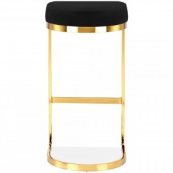 Calne Metal Barstool - Black Brass Legs Rear  View