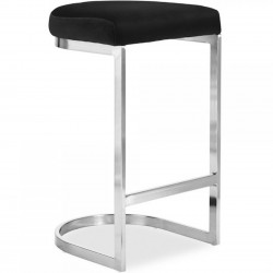 Calne Metal Barstool - Black/ Chrome Legs