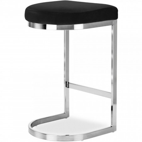 Calne Metal Barstool - Black/ Chrome Legs Angled Rear View