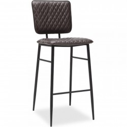 Alvin Faux Leather Bar Stool - Dark Grey