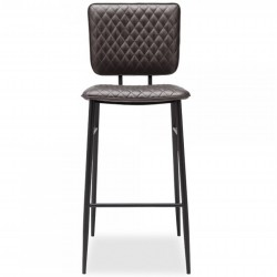 Alvin Faux Leather Bar Stool - Dark Grey Front View