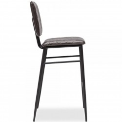 Alvin Faux Leather Bar Stool - Dark Grey Side View