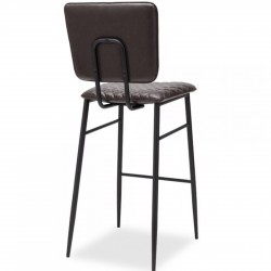 Alvin Faux Leather Bar Stool - Dark Grey Rear Angled View