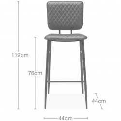 Alvin Faux Leather Bar Stool - Dimensions