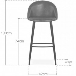 Idia Faux Leather Upholstered Bar Stool - Dimensions
