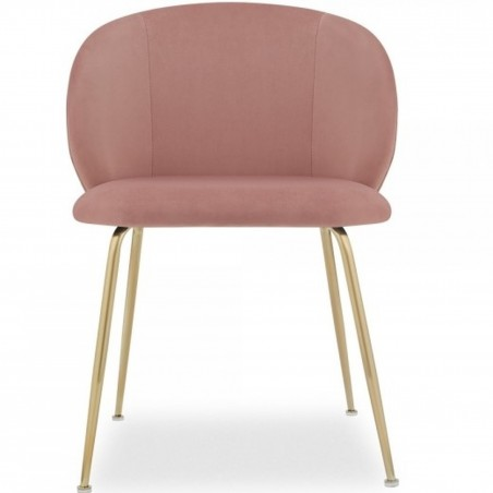 Nevada Dining Chair Pink / Brass Legs Front View