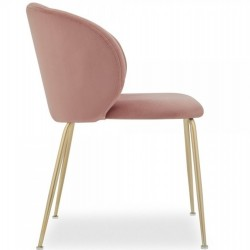 Nevada Dining Chair Pink / Brass Legs Side View