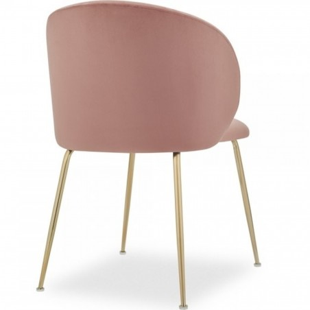Nevada Dining Chair Pink / Brass Legs Angled Rear View