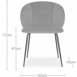 Nevada Velvet Upholstered Dining Chair  -  Dimensions