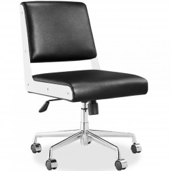 Mansfield Faux Leather Office Chair - Black Chrome Frame