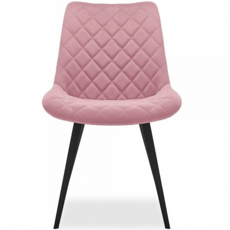 Ava Quilted Velvet Upholstered Dining Chair - Pink Front View