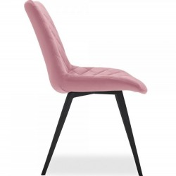 Ava Quilted Velvet Upholstered Dining Chair - Pink Side View