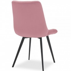 Ava Quilted Velvet Upholstered Dining Chair - Pink Rear Angled View