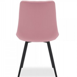 Ava Quilted Velvet Upholstered Dining Chair - Pink Rear View