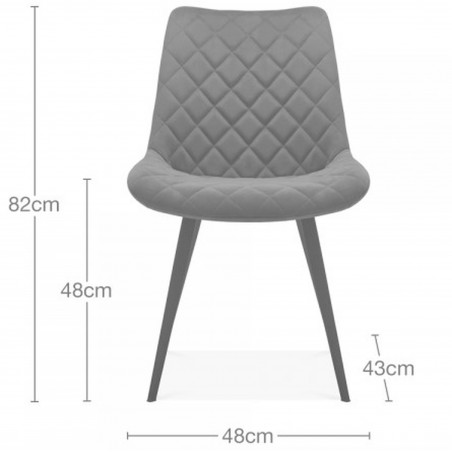 Ava Quilted Velvet Upholstered Dining Chair - Dimensions