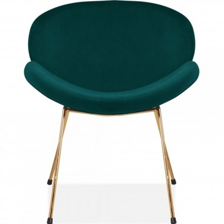 Shelly Velvet Accent Chair - Teal/ Brass Legs Front View