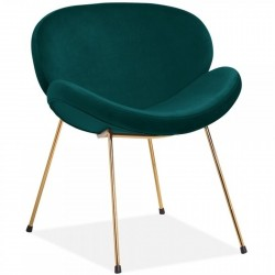 Shelly Velvet Accent Chair - Teal/ Brass Legs