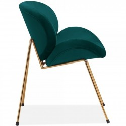 Shelly Velvet Accent Chair - Teal/ Brass Legs Side View
