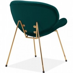 Shelly Velvet Accent Chair - Teal/ Brass Legs Rear Angled View